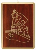Wandbord motief Biljarter 1